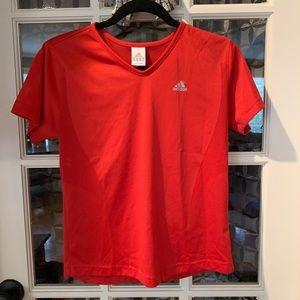 Adidas red mesh V-neck  workout T